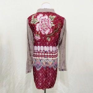 Aratta floral embroidery button down shirt plaid M